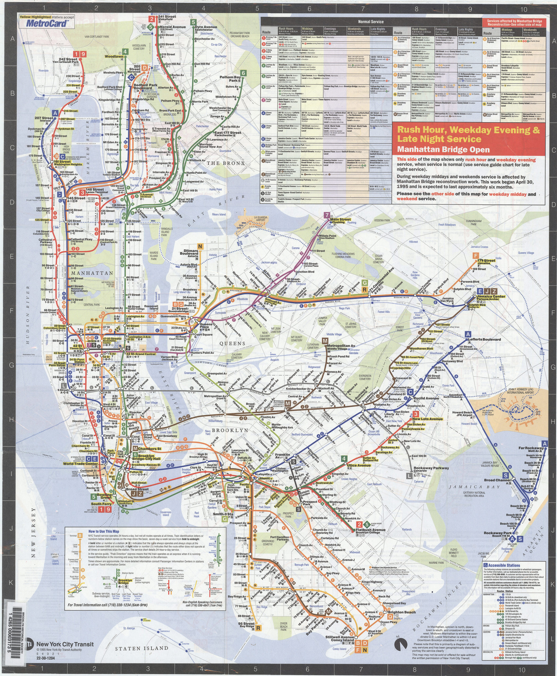 Subway Map Manhattan Ny.Nyc Subway Map May November 1995 Includes Manhattan Bridge Reroutes Mta New York City Transit Authority Map Collections Map Collections